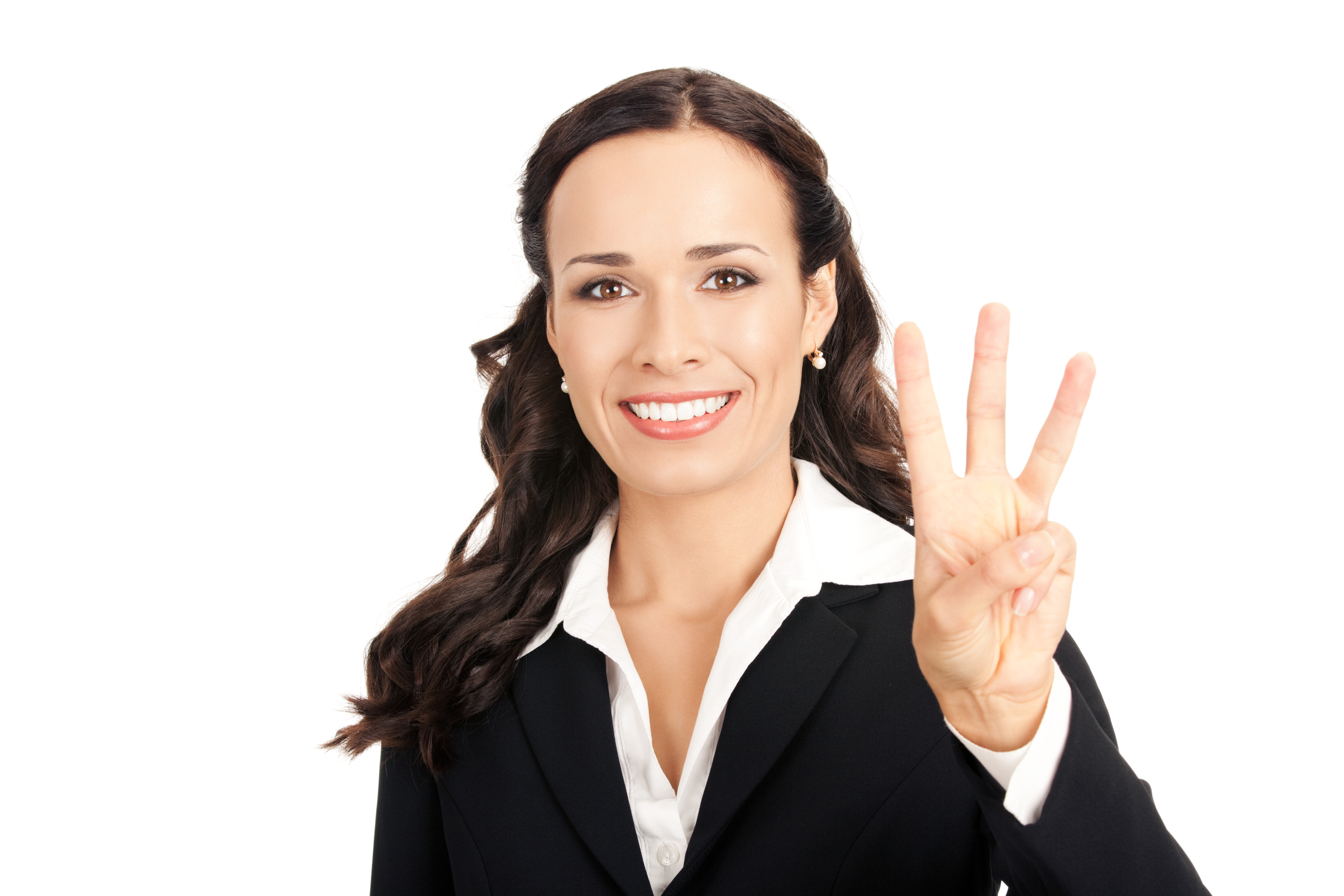 Businesswoman showing three fingers, on white
