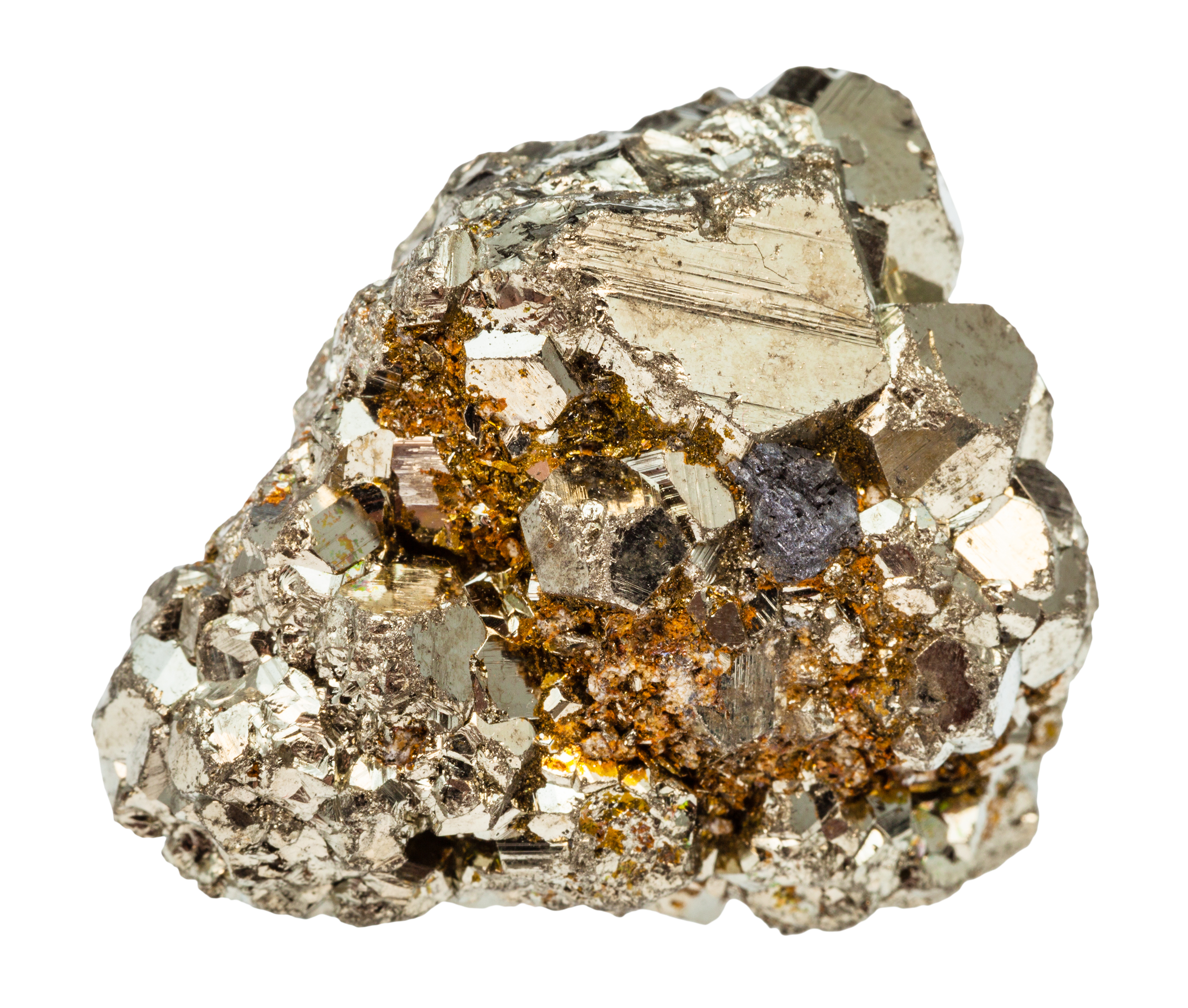 rough iron pyrite stone isolated