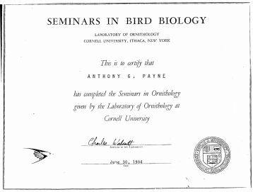 Certificate - Ornithology - Cornell University