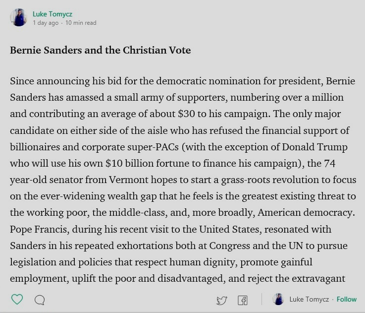 Bernie Sanders and the Christian Vote